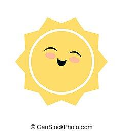 sun face weather season icon. Vector graphic - sun face...