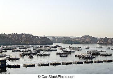 Egypt, Aswan Dam, Nasser Lake - In Aswan in Egypt is the...