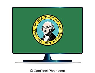 Washington Flag TV - A TV or computer screen with the...