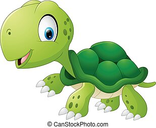 Happy sea turtle cartoon - Vector illustration of Happy sea...