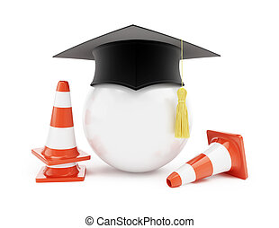 Car driving schools, traffic cones, road construction on a...