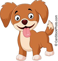 Cute dog isolated on white backgrou - Vector illustration of...