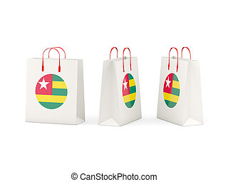 Flag of togo on shopping bags - Round flag of togo on...
