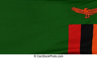 National flag of Zambia flying on the wind - National flag...