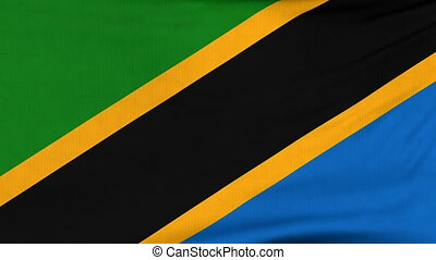 National flag of Tanzania flying on the wind - National flag...
