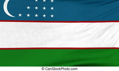 National flag of Uzbekistan flying on the wind - National...
