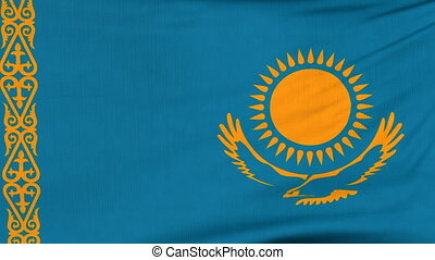 National flag of Kazakhstan flying on the wind - National...