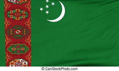 National flag of Turkmenistan flying on the wind - National...