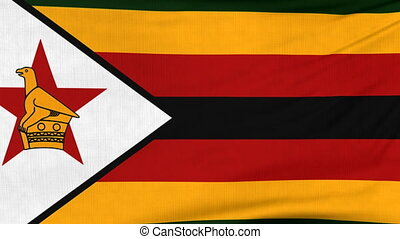 National flag of Zimbabwe flying on the wind - National flag...