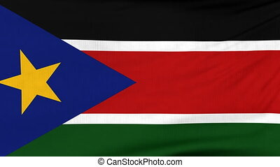 National flag of South Sudan flying on the wind