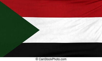 National flag of Sudan flying on the wind - National flag of...