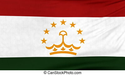 National flag of Tajikistan flying on the wind - National...