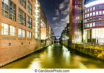 speicherstadt in hamburg - night view of famous...
