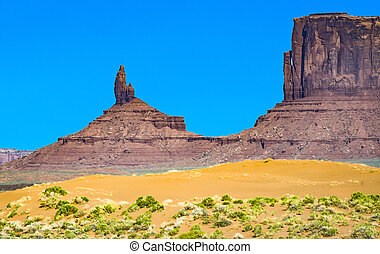 famous butte in monument valley under blue sky