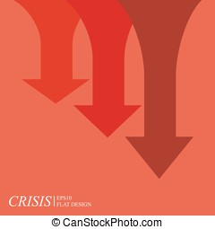 Economic crisis chart, arrows on red background