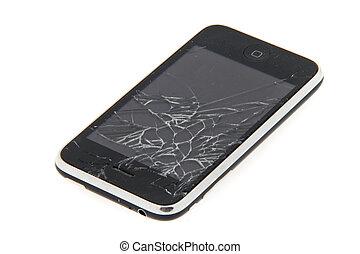 cellula, telefono, danneggiato, cadere