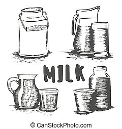 Vector set of hand drawn milk glass sketch