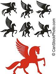 Pegasus horses icons for heraldic design - Pegasus horses...