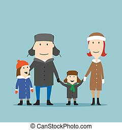 Happy family in winter wear are walking together