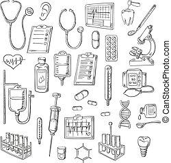 Medical checkup and treatments sketch icons
