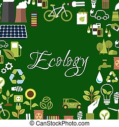 Eco background with recycling, save energy icons - Eco...