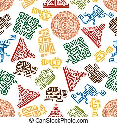 Seamless pattern of mayan and aztec ornament - Seamless...