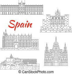 Famous tourist sights of Spain thin line icon - Spanish...