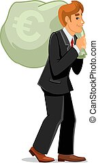 Businessman carrying money bag with euro sign