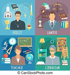 Teacher, lawyer, librarian and priest symbols - Teacher,...
