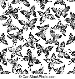 Black and white butterflies seamless pattern - Butterflies...