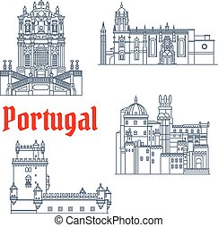 Architectural travel landmarks of Portugal icon - Portuguese...