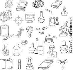 Scientist with laboratory research sketch icons