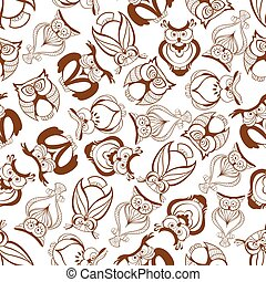 Seamless great horned owls pattern background - Brown horned...