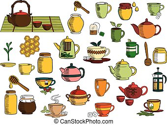 Tea drinks and dinnerware sketch icons - Tea beverages...