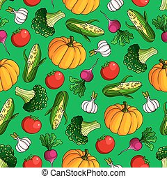 Seamless vegetables pattern on green background - Ripe...