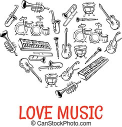 Classic musical instruments icons shaped as heart - Drum,...