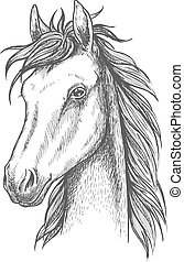 Sketched horse head icon for t-shirt print design - Sketched...