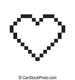 heart pixel love romatic icon. Vector graphic - heart pixel...