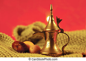 golden arabic tea pot with dates - golden arabic tea pot...