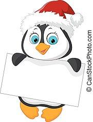 Cute little penguin holding blank s