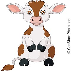 Happy cow cartoon sitting