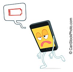illustration of exhausted smartphon - humanized smartphone...