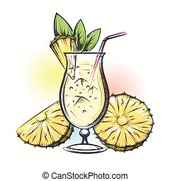 Pina colada tropical cocktail - Pina colada tropical...