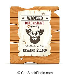 Wood sign board with wanted poster - Cartoon wood sign board...