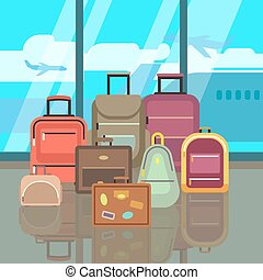 Vacation travelling concept with travel bags vector flat background