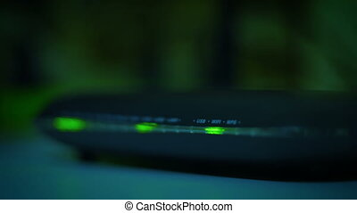 Blinking indicators of wireless internet network wi-fi router