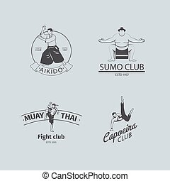 Fight club logo set - Fight club logo or MMA emblem set...