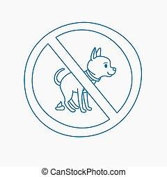 No dog pooping doodle sign - No dog pooping doodle blue line...
