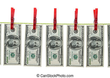 Money laundering with U.S. dollars on clothesline