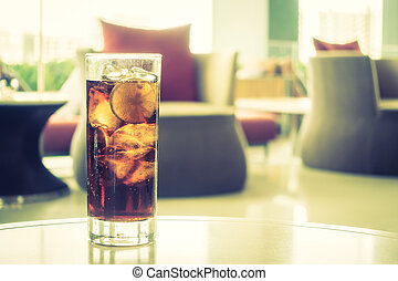 Coke glass - Selective focus point on Coke glass - Vintage...
